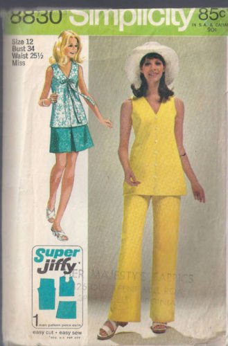 Vintage 1970. Front Center Pleat Mini Skirt and Long Pants, V-neck Back Zip Sleeveless Blouse Wowo Long Bow Tie, Sewing Pattern Simplicity 8830.