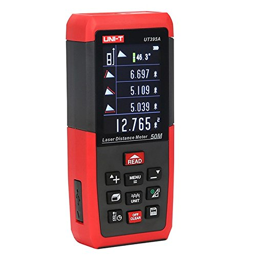 UNIT UT395A Professional 50M Distance Meter Triangle Area Continuous Measure Rangefinder with Data Storage USB Connector + Color LCD Display