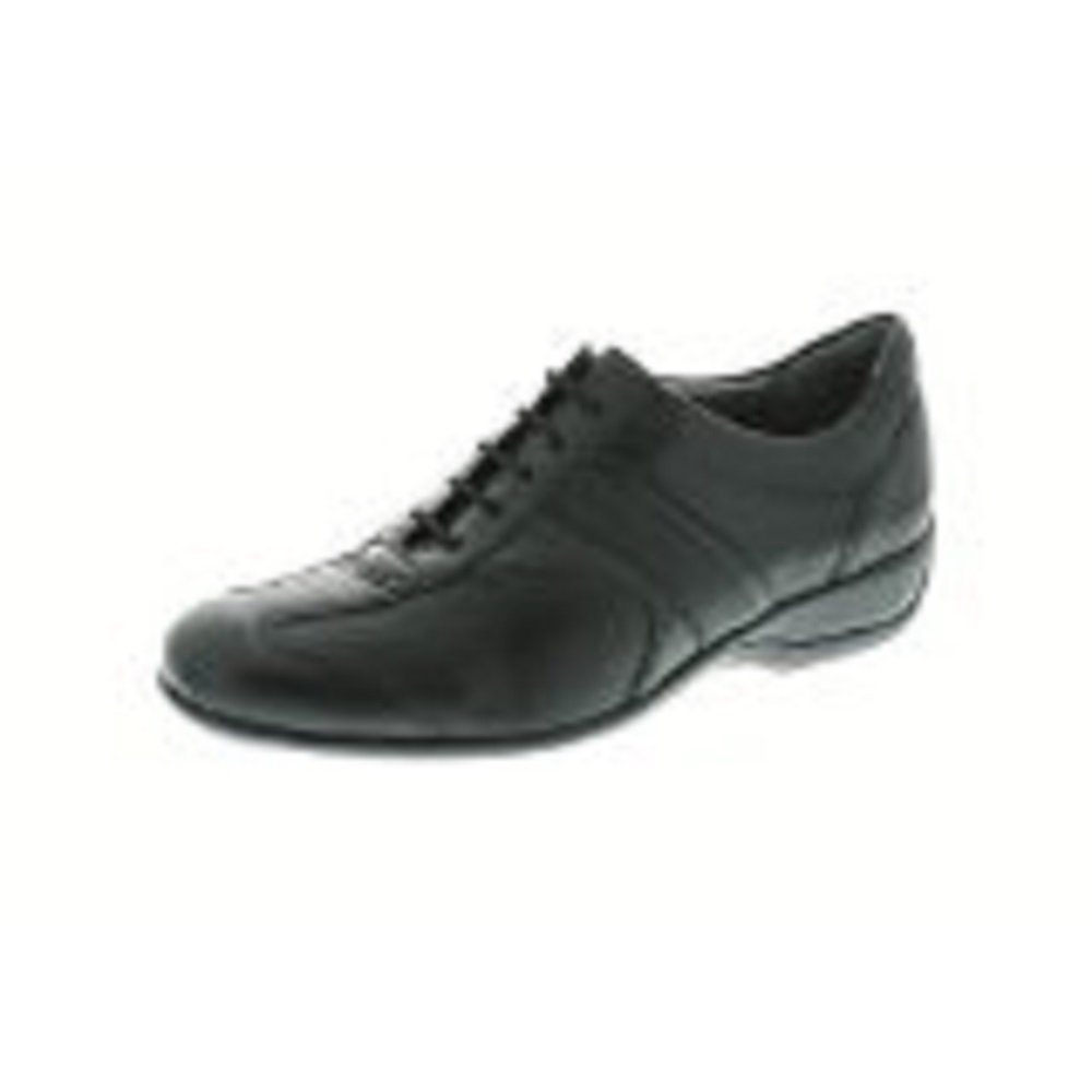 Xsensible Womens Love Lace Black Stretchable Leather Comfort Walking Oxford Shoe, 37 H, 6.5 7 Wide