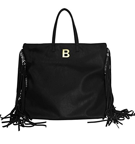 Borsa in Ecopelle con Frange personalizzata con iniziale in metallo - nero, B
