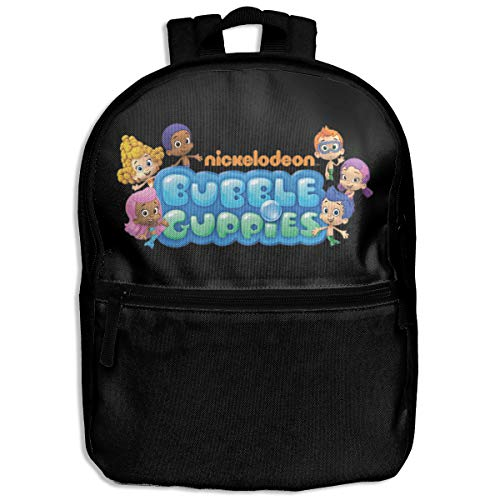 Fashion School Backpack Bubble Guppies Logo Outdoor Casual Shoulders Multipurpose Backpack Travel Bags for Children,Kids Black