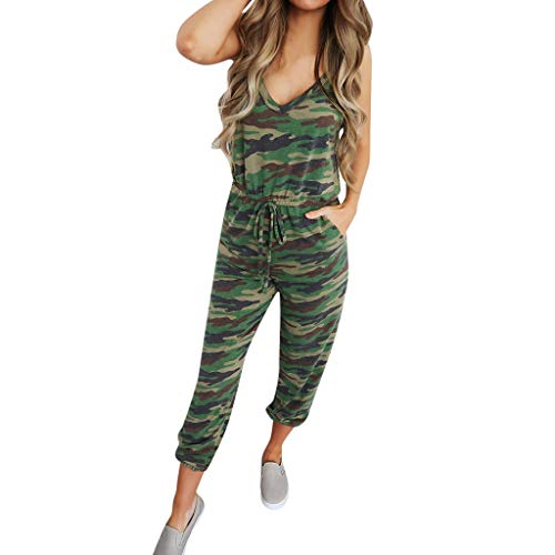 (Women's Casual Sleeveless Spaghetti Strap Deep V-Neck Jumpsuit Rompers Belted Camouflage Long Joggers Lightweight Breathable Summer Lounge Playsuit with Pockets)