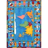 world carpet - Joy Carpets Hands Around the World Kids Area Rug Size - 5 ft. 4 in. x 7 ft. 8 in. Oval