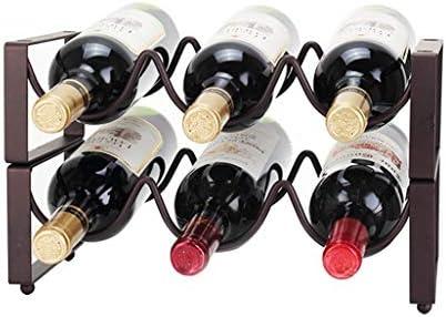 Estantería de vino Hierro vinos apilable bastidores de almacenamiento de titular encimeras de pie, estante del vino, botella de almacenamiento sólido gabinete del refrigerador, cocina organizador de a