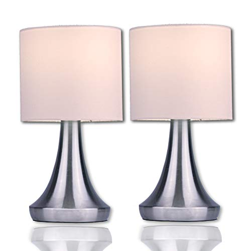 "Touch Lamp Set by Light Accents - Touch On Lamp Stands 13"" Tall Accent Light, Touch lamp Set with Fabric Shades and 3-Stage Touch Dimmer Brushed Nickel Finish (2-Pack)"