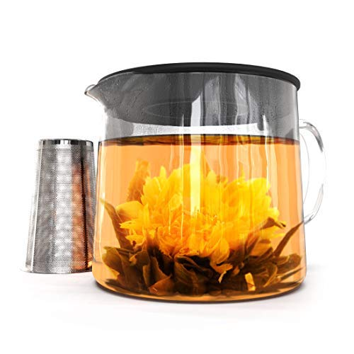 Glass Teapot with Tea Infuser - Stovetop Safe Clear Glass Teapot with Removable Strainer - Perfect for Blooming Tea, Loose Leaf and Other Herbal Teas - Includes 1 Tea -