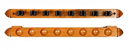 8 Cue Stick Pool Table Billiard Wall Rack, Oak Finish