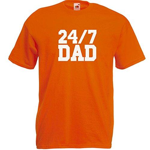 24/7 Dad T-Shirt Orange / Druck Weiß