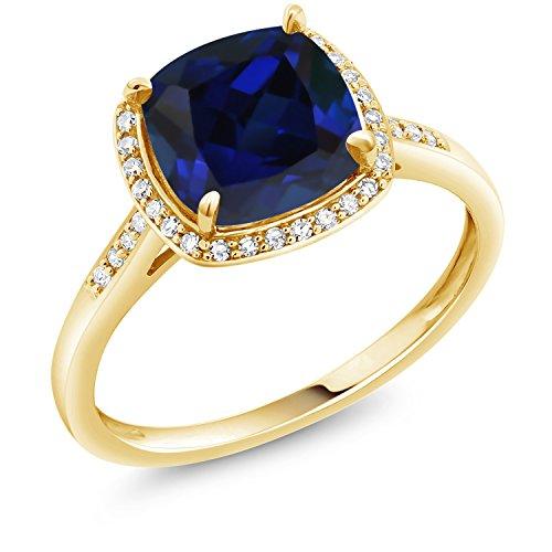 Gem Stone King 10K Yellow Gold Blue Created Sapphire and Diamond Women