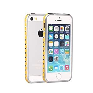 JJEShenGo Rivets Punk Style With Leather Strips Inlaid Metal Bumper for iPhone 5/5S (Assorted Colors)