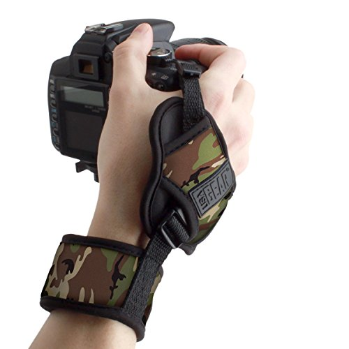 (USA GEAR Professional Camera Grip Hand Strap with Camouflage Green Neoprene Design and Metal Plate - Compatible with Canon, Fujifilm, Nikon, Sony and More DSLR, Mirrorless, Point & Shoot Cameras)