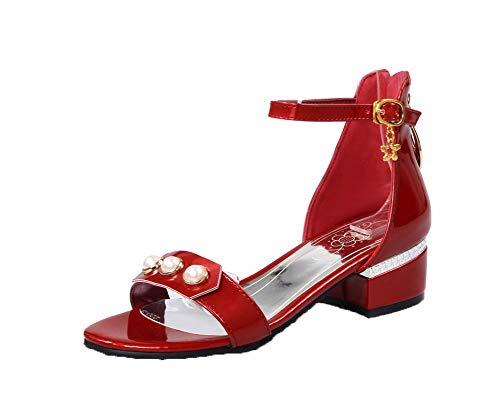 VogueZone009 Women Zipper Patent Leather Open-Toe Low-Heels Zipper Sandals,CCALP014627 Red