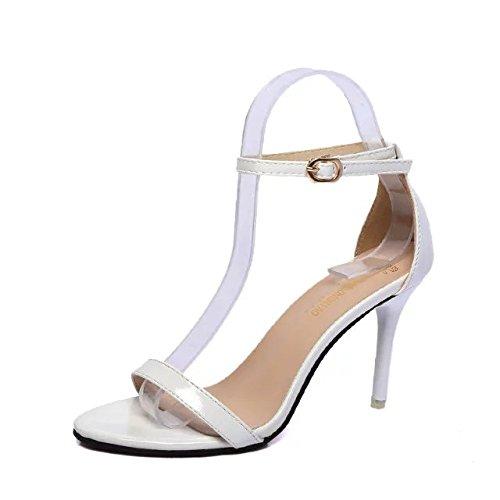 High Con Los Zapatos SHOESHAOGE Fina EU35 Sandalias High Hembra De Sandals Ranurados Dew Minimalist Negro Oro Heel Heeled Mujer Zapatos Eu35 Amarre 4qXxxvdE