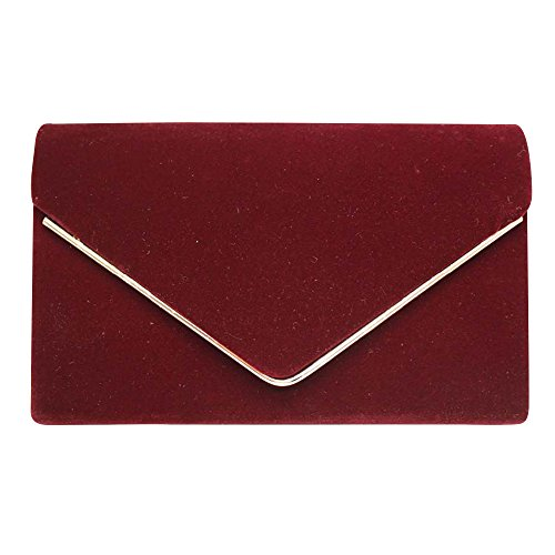Wocharm Womens Ladies Synthetic Suede Leather Envelope Gold EdgIng Clutch Bag Party Evening Bag (Burgundy)