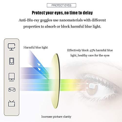 Men's Blue Blocking Glasses,Anti Eyestrain Anti Glare Lens Anti Blue Ray Computer Game Glasses Women Gaming Plain Mirror,Gold by OLDF (Image #2)