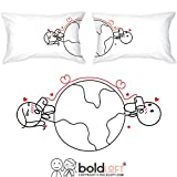BoldLoft Love Has No Distance Couples Pillowcases-Long Distance Relationships Gifts,Long Distance Gifts for Couples, for Him for Her,His and Hers Gifts,LDR Gifts