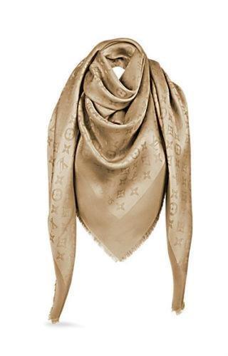 Louis-Vuitton-M75493-Lurex-Shine-Monogram-Shawl-Scarf-Gold