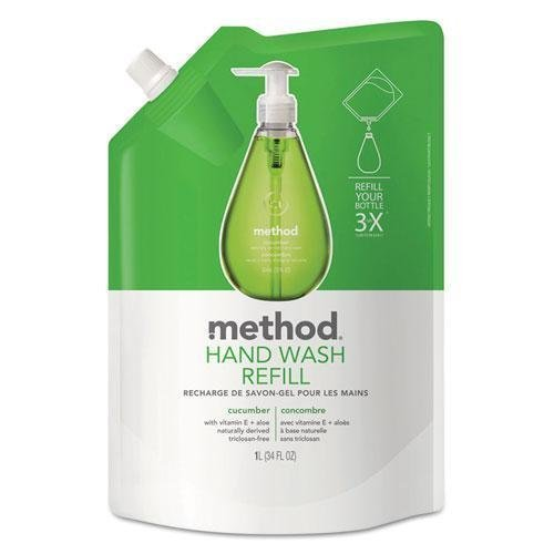 METHOD PRODUCTS INC. Gel Hand Wash Refill, 34oz, Cucumber Scent, Plastic Pouch (656)