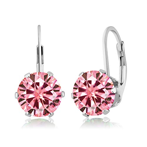 (925 Sterling Silver Dangle Earrings Pink Round Created Moissanite 3.80ct DEW)