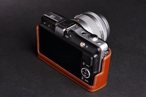 Handmade Genuine real Leather Half Camera Case bag cover for Olympus EPM2 E-PM2 Brown color