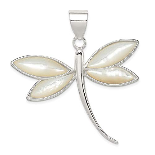 (925 Sterling Silver White Shell Dragonfly Pendant Charm Necklace Insect Fine Jewelry Gifts For Women For Her)