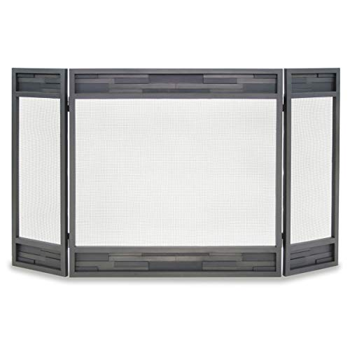 (Pilgrim Home and Hearth 18236 Lanier Tri Panel Fireplace Screen, Natural Iron, 48
