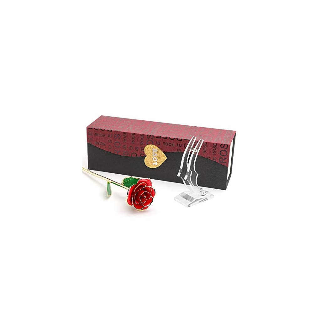 Ophanie-24K-Gold-RoseFoil-Trim-Long-Term-Dipped-Rose-with-Display-Stand-in-Gift-BoxBest-Romantic-Gift-for-Valentines-Day-Mothers-Day-Anniversary-Wedding-Birthday-PresentRed