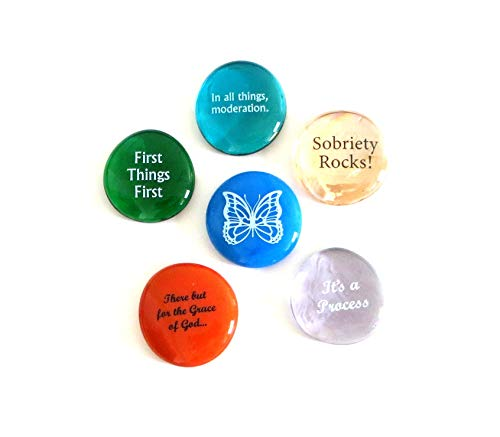 Lifeforce Glass Recovery Stones, 6 Daily Reminders for Encouragement in Sobriety on Glass Stones. Perfect for 12 Step Set II.