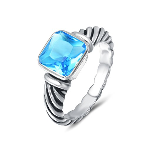 UNY Ring Antique Twisted Cable Wire Femme Designer Inspired Fashion Brand David Women Jewelry Gifts (Aqua, 7)