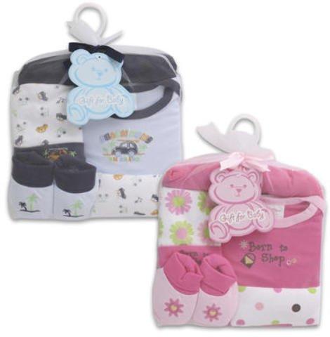 5 Pc Baby Gift Set Pink Blue Booties T Shirt Cap 48 pcs sku# 1458849MA