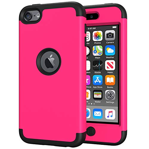 iPod Touch 7 Case for Girls, iPod Touch 6 Case, SLMY(TM) Heavy Duty High Impact Armor Case Cover Protective Case for Apple iPod Touch 5/6/7th Generation Hot Pink/Black (For 5 Cases Apple Girls Ipod)