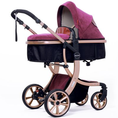 Baby Stroller High Landscape Two way shockproof baby can sit and sleep Baby use four seasons Red by Aimle (Image #3)