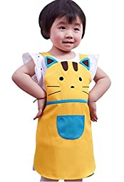 CRB Girls Boys Kids Toddler Elephant Cat Bunny Chef Baking Apron (Yellow Cat)