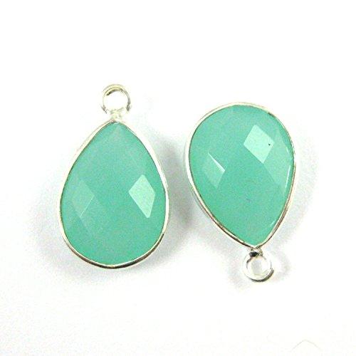 Bezel Gemstone Pendant - Small Teardrop - 10 x 14mm -Sterling Silver Bezel Gem - Peru Chalcedony ( 2 pcs)