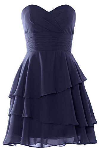 MACloth Women Strapless Tiered Cocktail Bridesmaid Dress Wedding Formal Gown Azul Marino Oscuro