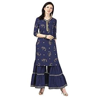 Nainvish Crepe Stitched Kurti with Sharara Set for Women