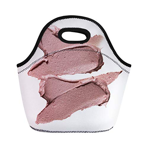Semtomn Lunch Bags Cream Beige Smears of Crushed Highlighter Luminizer White Makeup Neoprene Lunch Bag Lunchbox Tote Bag Portable Picnic Bag Cooler Bag