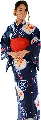 sakura Women Japanese Yukata obi belt set / Indigo goldfish pattern