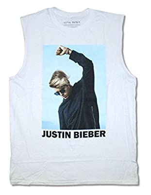 Justin Bieber Bold Shaded Color Pic Adult White Muscle Tank Top Shirt
