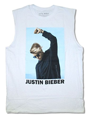 Justin Bieber Bold Shaded Color Pic Adult White Muscle Tank Top Shirt (M)