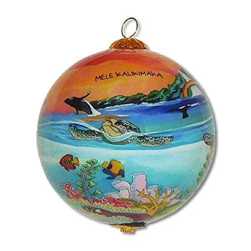 Maui By Design Collectible Hawaiian Glass Ornament Gift Box Hand Painted Sea Turtles in The Sunset
