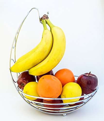 Premium Heavy-Duty Metal Fruit Bowl Basket with Banana Hanger, Color: Chrome by Maypes