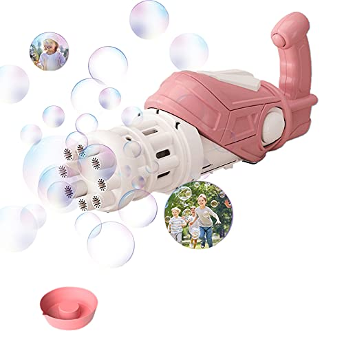 Bubble Machine, Gatling Bubble Machine, 8-Hole Bubble Blower, Automatic Bubble Blowing Machine Electric 40ML (Pink, Without Bubble Water)