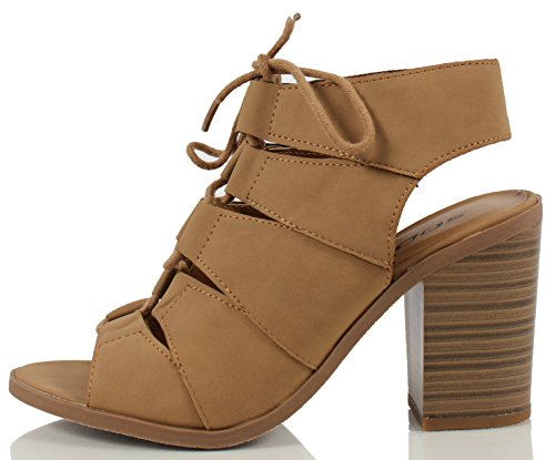 Open Back Ankle Boots (Soda Women's Quince Faux Leather Peep Toe Lace Up Gladiator Slingback Open Back Ankle Boot, Tan, 85 M US)