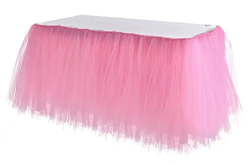 Adeeing Romantic Tulle Table Cloth Gauze Decoration Tutu Table Skirts for Girl Princess Party Baby Shower Wedding Birthday Parties Decoration Pink 1Yard ()