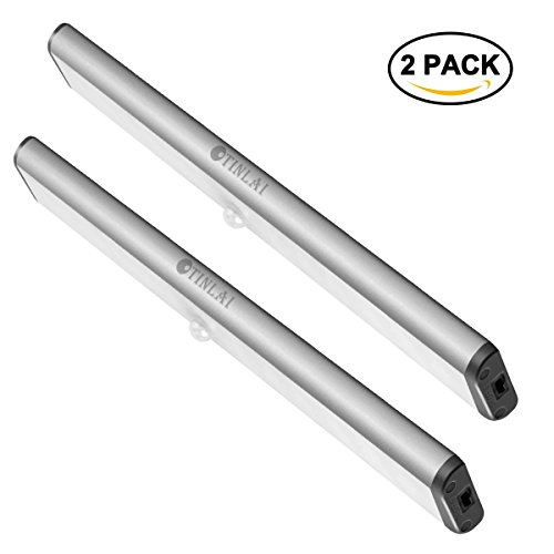 2pcs-Under-Cabinet-Lights10-LED-Motion-Sensor-Lights-850-mAH-Rechargeable-LED-Lights-Led-Cabinet-Lights-Built-in-Magnet-Direct-Adsorption-Installation-Stick-on-Anywhere-Otinlai-Silver