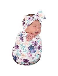 Sayolala Newborn Floral Receiving Blankets Newborn Baby Toddler Swaddling with Headbands Sleepsack Warm Wearable Bed Blankets