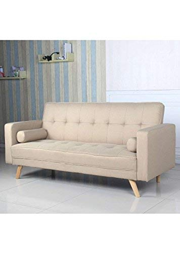 Menzzo Slow Canapé Convertible scandinave, Tissu, Beige, 186