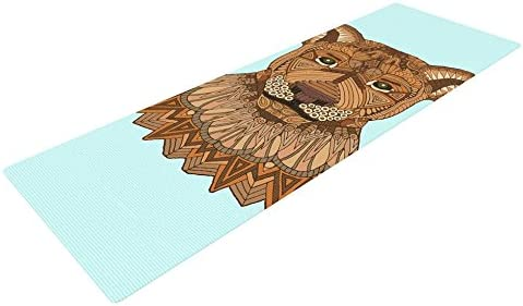 Kess InHouse Art Love Passion Lioness Exercise Yoga Mat, Blue Brown, 72 by 24