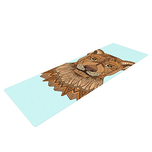 Kess InHouse Art Love Passion Lioness Exercise Yoga Mat, Blue Brown, 72″ by 24″
